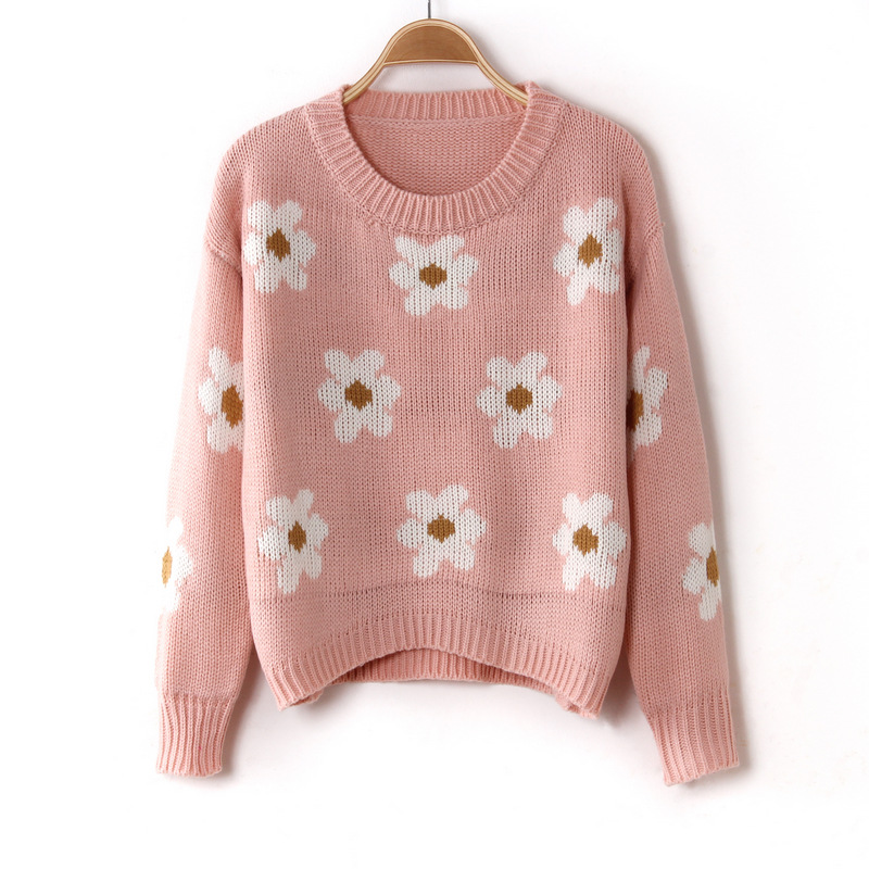 Pink Sun Flower Knitted Sweater on Luulla